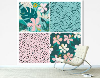 Collage contemporary floral and polka dot shapes seamless pattern set.