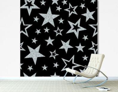 Seamless pattern with silver glitter sparkle stars on black background. Vector illustration.