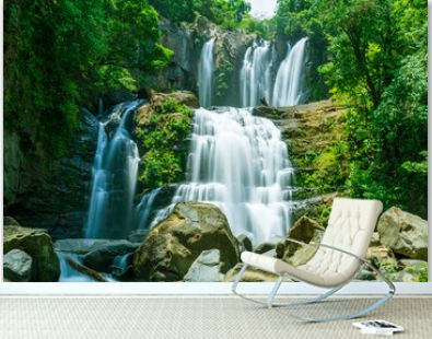 The tapering Nauyaca Waterfalls in Costa rica, a majestic cascading fall in Dominical province, Costa Rica