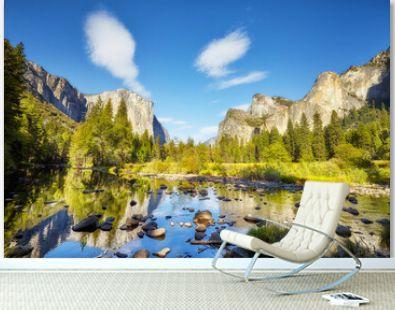 Scenic view of Yosemite Valley with El Capitan rock formation reflected in river, California, USA.