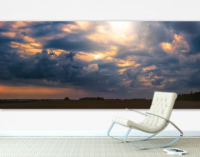 Climate change concept with asperitas storm clouds, banner