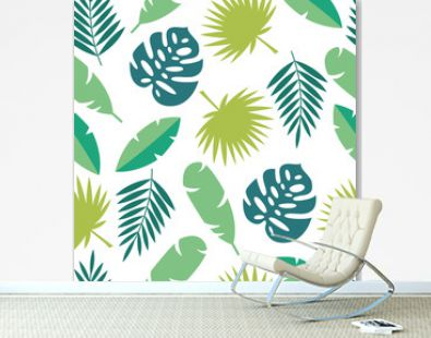Tropical leaves seamless pattern - green palm tree leaf and exotic plant foliage