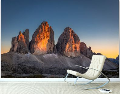 Beautiful view to Tre Cime peaks at sunset, Dolomites, Europe