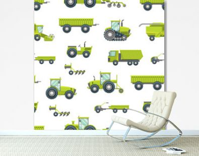 Cartoon Agricultural Vehicles Seamless Pattern Background. Vector