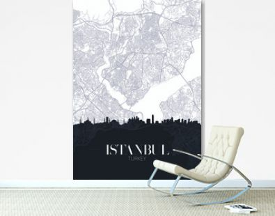 Skyline and city map of Istanbul, detailed urban plan vector print poster
