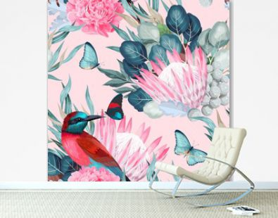 Vector seamless pattern with birds and protea