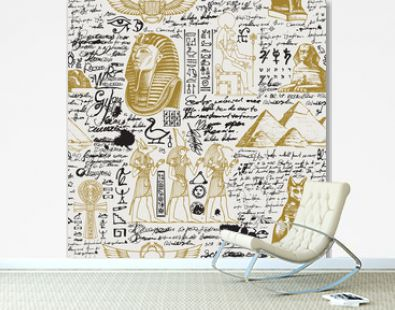 Vector seamless pattern on the Ancient Egypt theme with unreadable notes, hieroglyphs and sketches in retro style. Suitable for wallpaper, wrapping paper, fabric, background.