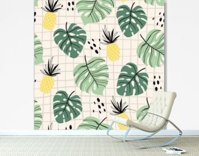 Abstract tropical seamless pattern with palm leaf and pineapple, modern design