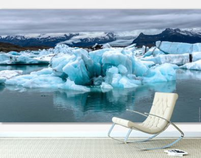 Scenic View Of Icebergs Floating On Lake At Glacier Lagoon