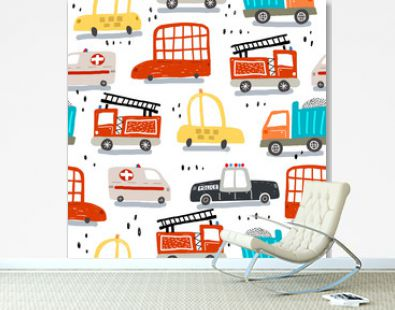 seamless pattern with cartoon cars, decor elements. Colorful vector flat style for kids. hand drawing. baby design for fabric, print, wrapper, textile