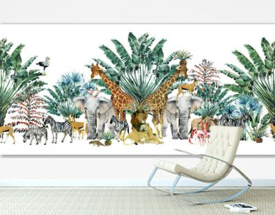 seamless pattern with safari animals and palm trees.Tropical vintage botanical island banner. Exotic jungle border.