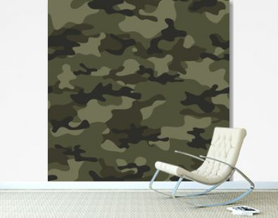 Military camo seamless pattern forest background vector illustration