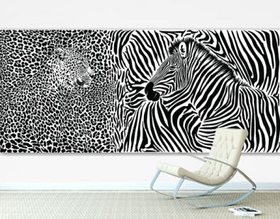 Zebra and leopard skin pattern with heads