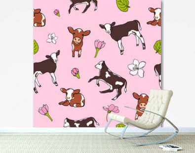Cute spotted calf or cows with apples flowers on pink background. Seamless pattern with little cartoon cows