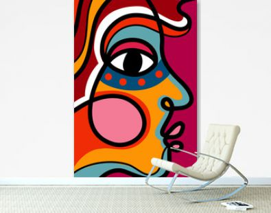 One line drawing abstract woman face. Modern continuous line art tribal portrait. Ethnic style vector illustration for posters, wall decor, tote bag, t-shirt print, mobile case, cards