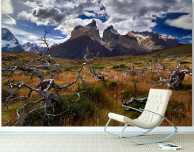 Torres del Paine Mountains, after sunrise.