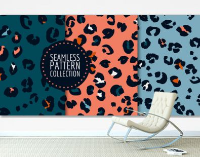 Hand-drawn leopard spots seamless pattern set in vector