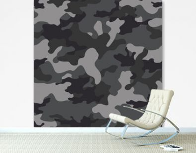 Vector gray seamless camouflage pattern on print.