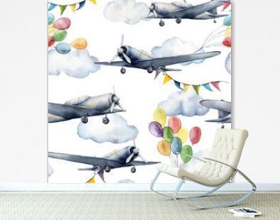 Watercolor seamless pattern with clouds, airplanes, air balloons and flag garlands. Hand painted illustration of sky isolated on white background. For design, prints, fabric, interior or background.