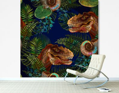 Archeology and paleontology background. Template for clothes, print. Prehistoric life of dinosaurs seamless pattern. Tyrannosaurus rex head, ammonite fossil and palm leaves