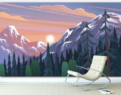 Mountains landscape, abstract lilac sunset panoramic view, vector illustration. Mountainside forest background. Beautiful view of the mountaine landscape with snow-capped peaks on a cloudy sky