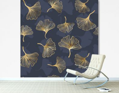 Gold ginkgo biloba seamless pattern, vector background with leaves of ginkgo bilboa, leaf pattern