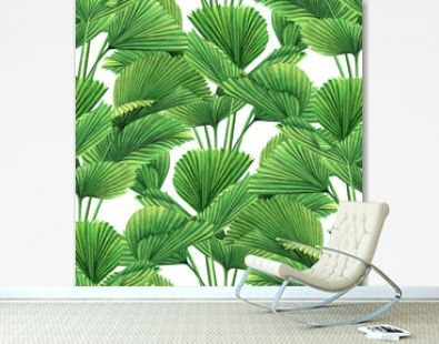 Watercolor painting coconut,palm leaf,green leaves seamless pattern background.Watercolor hand drawn illustration tropical exotic leaf prints for wallpaper,textile Hawaii aloha jungle style pattern.