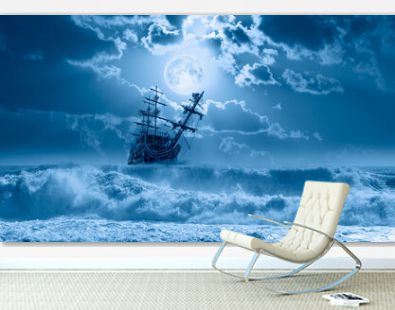Sailing old ship in storm sea - Night sky with moon in the clouds