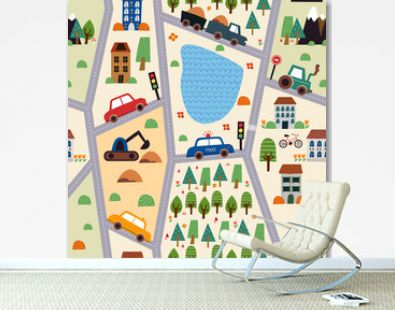 Childish seamless pattern with mountains, river, forest, plants and endless car road. Vector cartoon illustration.