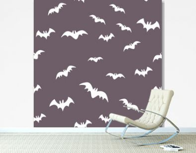 Halloween pattern with flying bats. Vector seamless background. Bat simple illustration texture.
