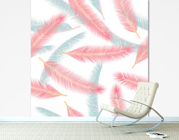 Tropical feather plumage vector pattern. Vintage illustration. Airy natural feather plumage wallpaper seamless pattern.