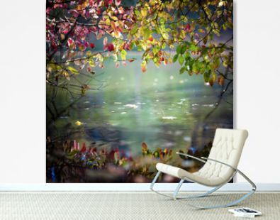 Beautiful autumn leaves and their reflection in the river water. Landscape in the style of the impressionists on the theme of autumn, weather. Forest and river in autumn.
