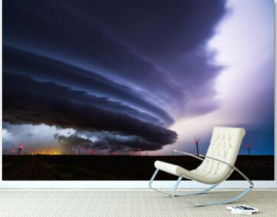 Supercell storm cloud with dramatic sky and lightning