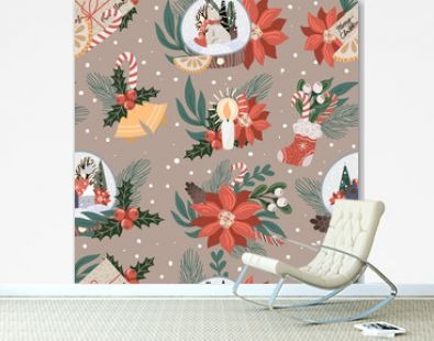 Seamless pattern with Christmas decor and flowers. Vector.