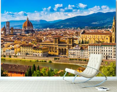 Florence Cityscape skyline with Arno river landmark of Tuscany Italy
