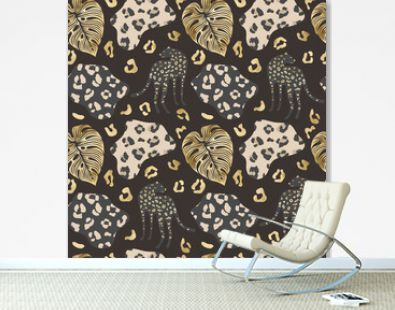 Gold cheetah seamless pattern, jungle background with leopard and palm leaves