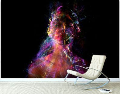 Abstract photography in the style of light painting. girl on a black background