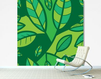 Seamless pattern with different eaves on green background. Vector print with plants.