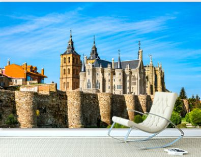 Astorga with the Episcopal Palace and the Cathedral above the city walls. Castilla y Leon, Spain