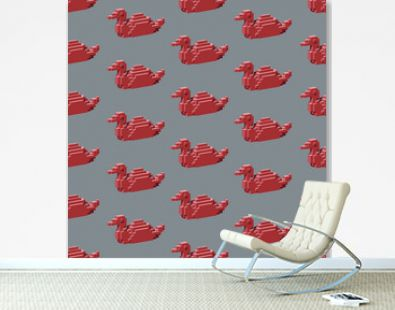 Seamless pattern with the red  isometric ducks in the grey background