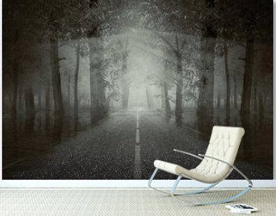 Haunted street inside the forest with a dramatic scene background