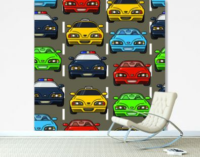 Vector seamless baby boy pattern with different cars