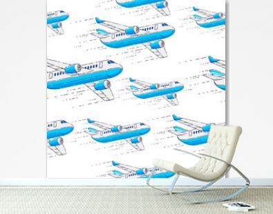 Planes seamless background, airlines air travel concept, vector wallpaper or web site background.