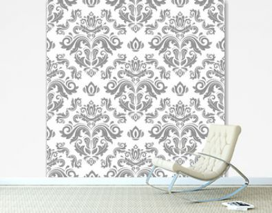 Classic seamless vector silver pattern. Damask orient ornament. Classic vintage background. Orient ornament for fabric, wallpaper and packaging