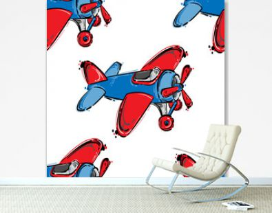 Abstract seamless pattern with airplane.