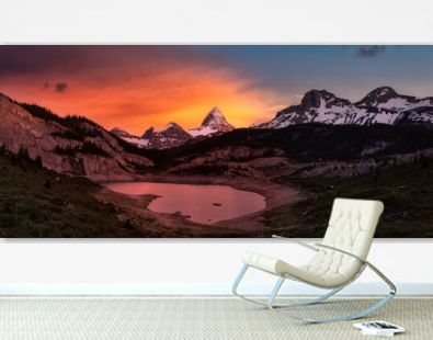Beautiful Panoramic View of Og Lake in the Iconic Mt Assiniboine Provincial Park near Banff, Alberta, Canada. Canadian Mountain Landscape Background Panorama. Vibrant Colorful Sunset Sky