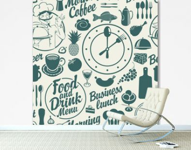 Seamless pattern on the food and drink theme with various meals, drinks and inscriptions on a light backdrop. Vector repeating background in cartoon style. Great for wallpaper, wrapping paper, fabric