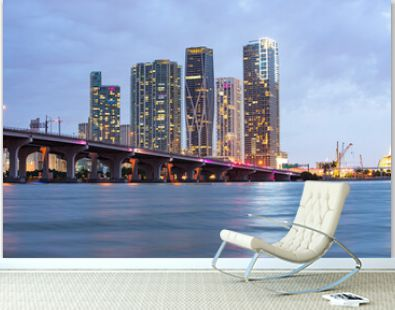 Florida Miami night city skyline. USA downtown skyscrappers landscape, twighlight town.