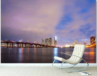 Florida. Miami city town skyline. USA downtown skyscrappers landscape.