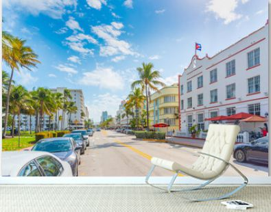 City life in Ocean Drive on a sunny day.